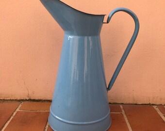 Vintage French Enamel pitcher jug water enameled blue 1503201729