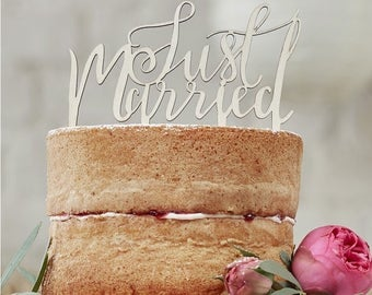 Wooden Just Married Cake Topper | Wedding Cake Toppers | Wooden Cake Topper