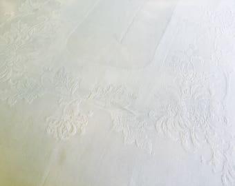 Vintage linen damask table cloth