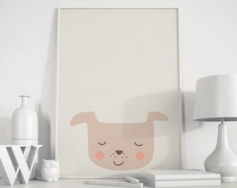 Dog poster, dog kids art, dog wall art, dog kids print, dog print, playroom decor, nursery print, Animals Nursery, Peekaboo animal,