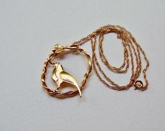 Vintage love bird pink gold tone pendent necklace