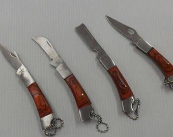 1 small pocket 3.5 cm handle steel blade folding knife wood Style knife 5 cm