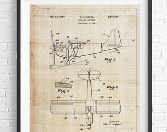 Blueprint Wall Art airplane print on blueprint paper industrial art modern