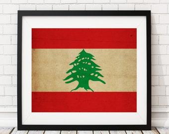 Lebanon Flag Art, Lebanon Flag Print, Lebanese Flag Poster, Country Flags, Wall Art, Flag Painting, Unique Christmas Gifts. Gift Idea