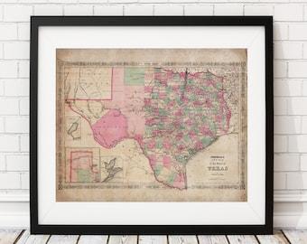 Texas Map Print, Vintage Map Art, Antique Map, Wall Art, Map of Texas, Old Map, Texas Art, Texas Gifts, Texas Print, Antique State Maps,