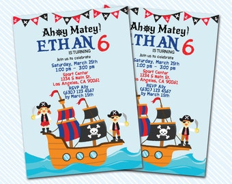 Digital Printable Pirate Birthday Invitation. Treasure hunt. Boy Birthday