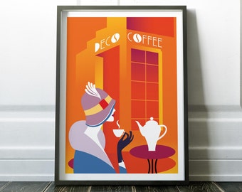 Art Deco Print, Art Deco Poster, Minimalist Print, Cafe Art, Cafe  Print,Retro Print, Wall Art Prints, Minimalist Art, Prints, Art, Art Deco