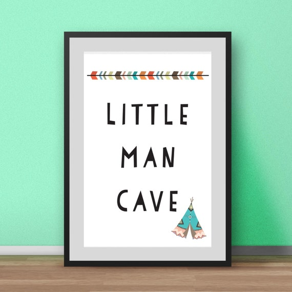 Man Cave Nursery : Nursery wall art little man cave print boys prints