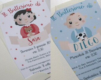 BAPTISM Invitation • Baby Boy-Baby Girl   Personalized Baptism 4 x 6 +-involvement illustrated Envelope