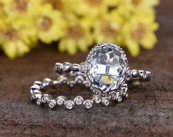 7x9mm oval cut VS natural blue aquamarine engagement ring set,4k white gold diamond wedding band,2pcs bridal ring set,full eternity diamond
