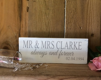 Personalised Wedding/Anniversary Sign Mr & Mrs Name Always and Forever