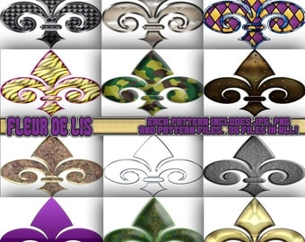 Fleur de lis clipart, background, scrapbook, digital paper