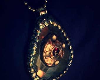 Labradorite Crystal w/ Garnet Stone Necklace