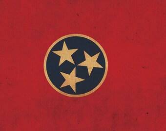 Vintage Tennessee Flag on Canvas, Tennessee Flag, Wall Art, Oregon Photo, Tennessee flag on canvas,Single or Multiple Panels Indiana flag