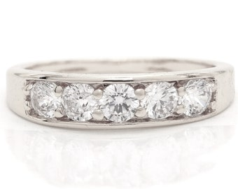 Silver ring, Big clear gems, White gemstones big, 925 Sterling silver, Real band silver ring, Stones band classic, Handmade, Black gift box