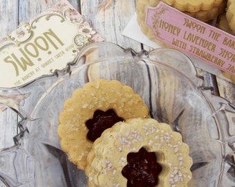 Linzer Cookies Honey Lavender Shortbread Cookies with Strawberry Jam ~ Cookie Gift Box ~ Jam Cookies ~ Shortbread Cookies ~ Wedding Cookies