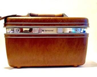 Vintage Samsonite Train Case Cosmetic Box Travel Box Carry-On Luggage Overnight Bag