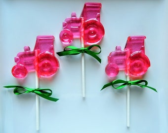10 Tractor Lollipops John Deere Girl Farm Girls Birthday Hot Pink Cotton Candy Pink Party Favors Candy