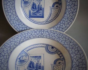 Antique Old Hall Earthenware Excelsior Blue Aesthetic Movement Transferware Soup Bowls Plate 1880 Staffordshire England Christopher Dresser