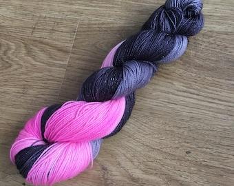 100g sparkly merino sock yarn - pink splash