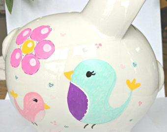 Personalized Large Piggy Bank - Girl's Room Hand Painted Birds & Flowers Design Ceramic Piggy Bank with Name