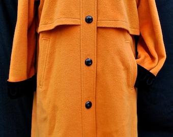 Orange wool coat | Etsy