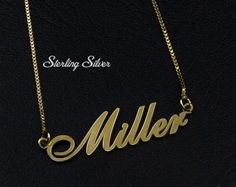 Name Necklace Gold, Font Necklace, Personalized Name Necklace, Birthday Gift, Custom Necklace, Letters Necklace, Name on Necklace