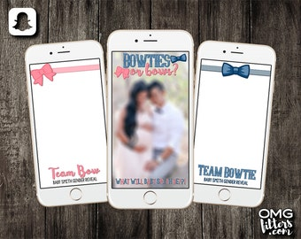 Bowties or Bows Gender Reveal - Custom Snapchat Filter - Choose from a Single Geofilter or a Pack of 3!