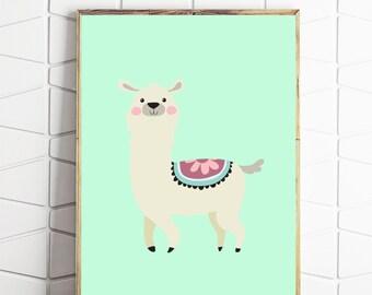llama printable, llama art, llama wall decor, llama wall art, llama digital download, llama instant art