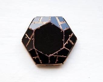 Antique Art deco black glass/ metal hexagonal buckle