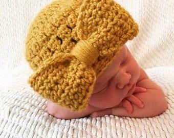 Bow Hat - Sungold, Newborn Crochet Hat, Newborn Photoshoot, Baby Crochet Hat, Newborn Crochet Outfit, Baby Shower Gift, Newborn Hat