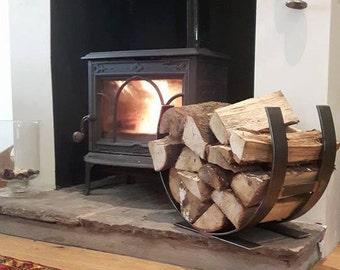 Industrial fireside log basket