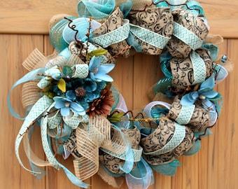 Wreath, Teal Blue and Brown flowers, Burlap, Jute, ribbons.