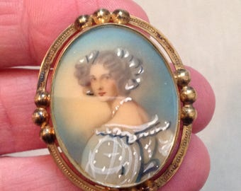 Vintage Brooch with Victorian Woman, Gold Filled Brooch 1/20-12K, Victorian Woman