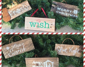 Rustic Wood Christmas Ornaments/ Wish/ Frosty/ Peace on Earth/ Merry Christmas/ Silent Night/ Away in a Manger