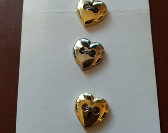 Vintage Gold Heart Shaped Buttons Streamline Industries, #K1880