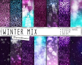 Winter blue digital papers Christmas Snowflakes Stars Ombre Purple Bokeh Snow Glitter Digital Paper Pack Sparkle Digital Scrapbook Papers