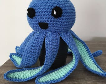 Medium blue and green plush handmade crochet octopus