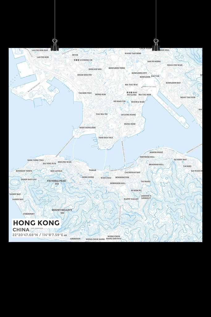 Premium Map Print of Hong Kong China Subtle Ski Map Unframed