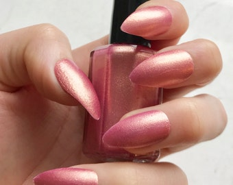 TheGoldenRose - Indie Nail Polish - 5-Free - Rose Gold - Handmade - Soft Pink Nail Polish with a Stunning Gold Shimmer - Great for gifts!