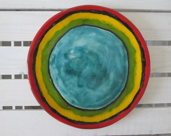 handmade ceramic tray, decorative plate, colorful handmade plate, pottery tray, ceramic appetizer plate, ethnic plate, unique handmade plate