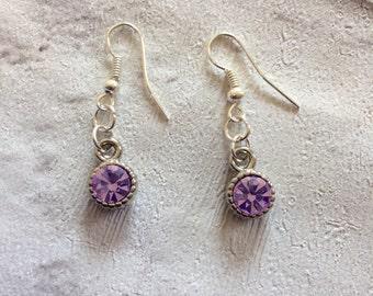 Purple  Earrings, Silver Earrings, Bridal Lilac Earrings, Silver Drop Earrings, Crystal Jewellery, Purple Rhinestone Earrings