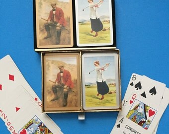 Golf Congress Double Deck Playing Cards;   Vintage;   Old Fashioned Man and Woman Patterned Card Decks;  Made in Spain