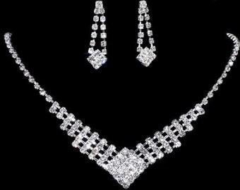 New Simple Charming Elegant Wedding Party Rhinestone Necklace Earrings Crystal Set Jewelry