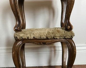 Fur-Topped, Distressed Antique Footstools - A Pair