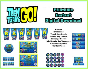Teen Titans Go!  Digital Party Decorations Banner, Centerpiece and More