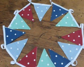 Dotty Nautical Bunting. 12 Flags.