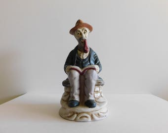 Man reading a book porcelain figurine vintage collectible avid reader Man sitting on bench reading Old Man Reading Collector Figurine Man