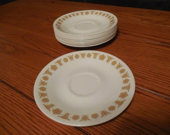 Set of 10 Corelle Butterfly Gold Saucers