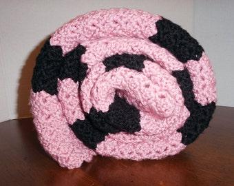 Crochet Pink & Black Blanket